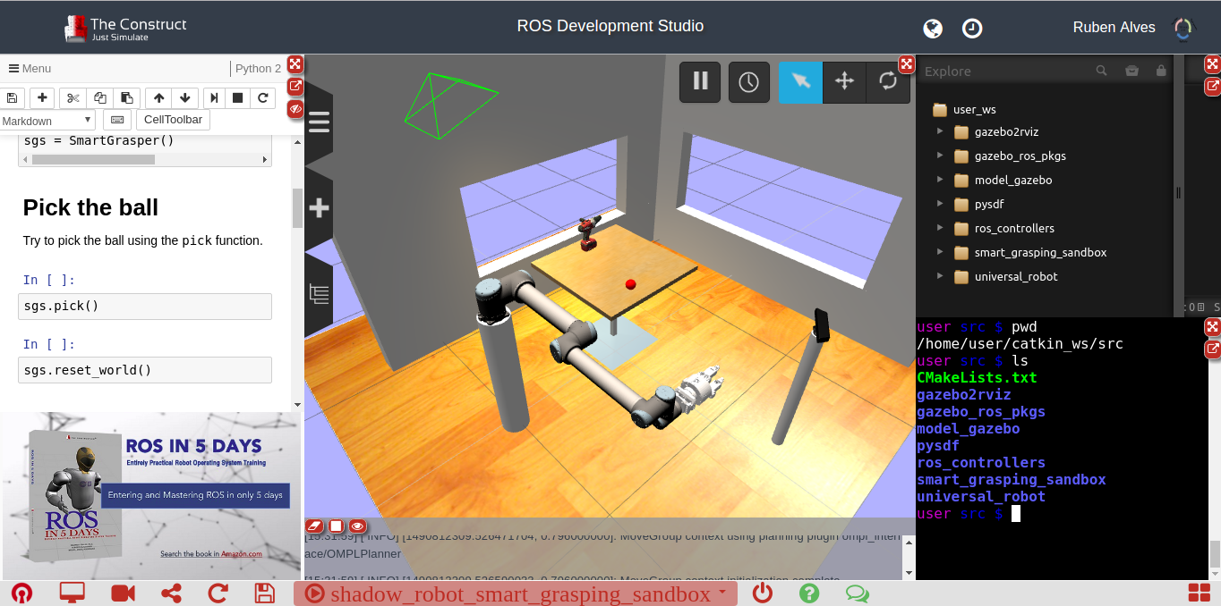 Smart Grasping System available on ROS Development Studio