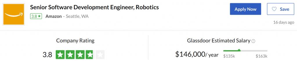 Salary for an actual robotics software developer job offer