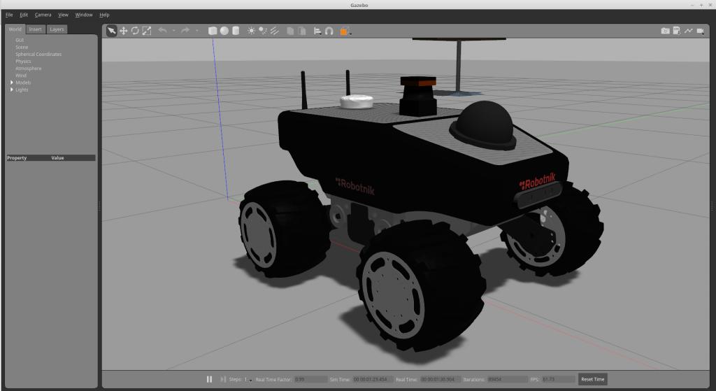 Summit XL robot simulation running in Gazebo 9