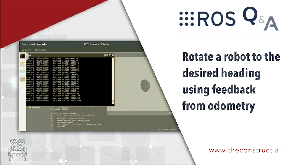 Rotate a robot to the desired heading using feedback from odometry