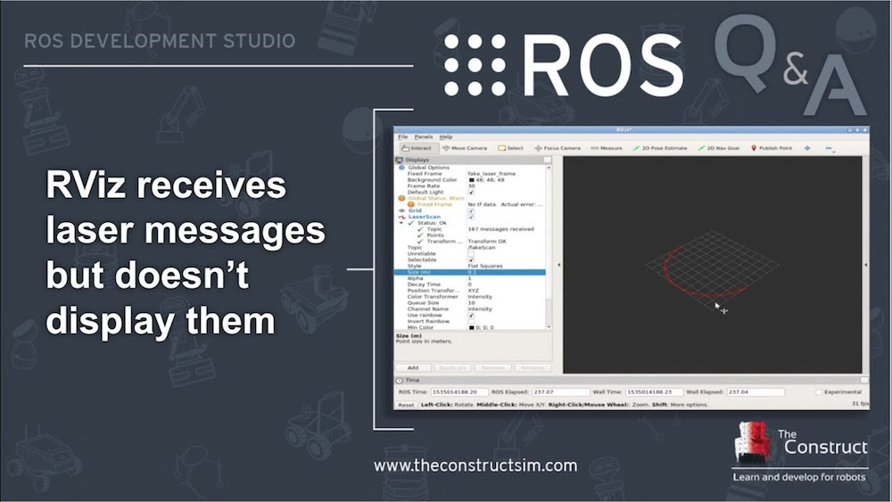[ROS Q&A] 151 – Rviz receives LaserScan messages but doesn't display them