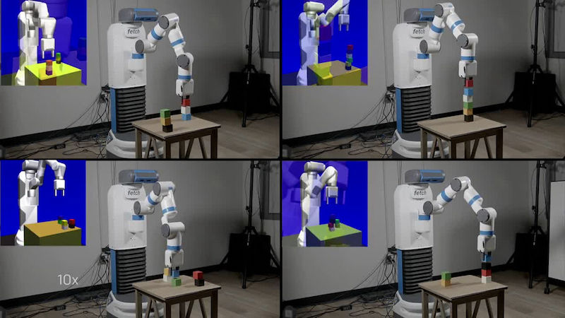 OpenAI teaches Fetch robot to grasp from table using simulations (photo credit: OpenAI)