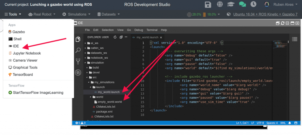 Tools -> IDE. Opening the Code Editor on ROSDS