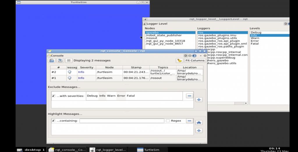 rqt_console Debugging Screens
