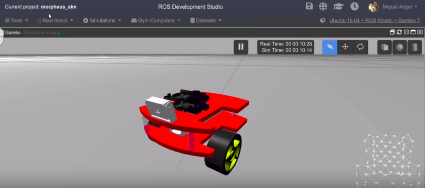 Real Robot with Raspberry PI simulated in ROSDS