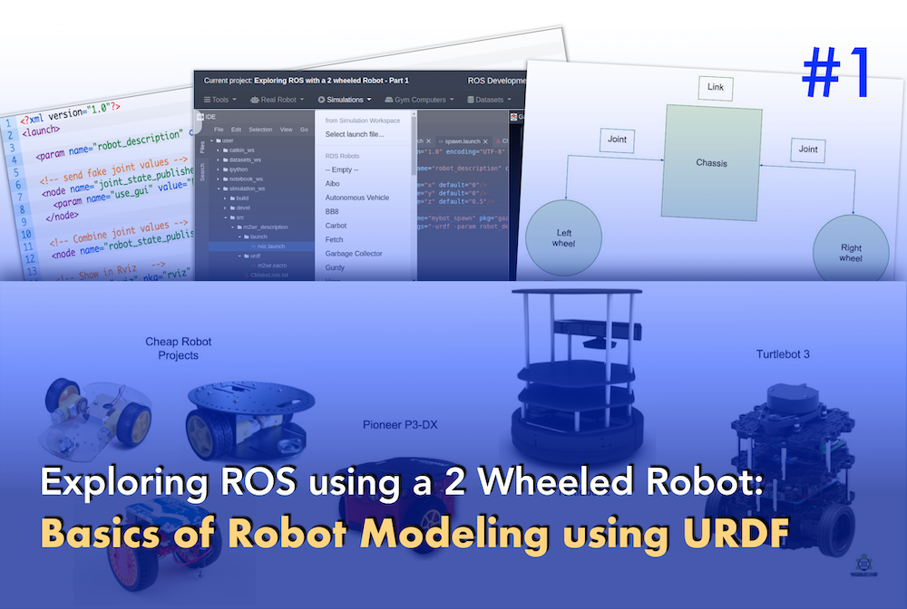 Exploring ROS using a 2 Wheeled Robot #1: Basics of Robot Modeling using URDF