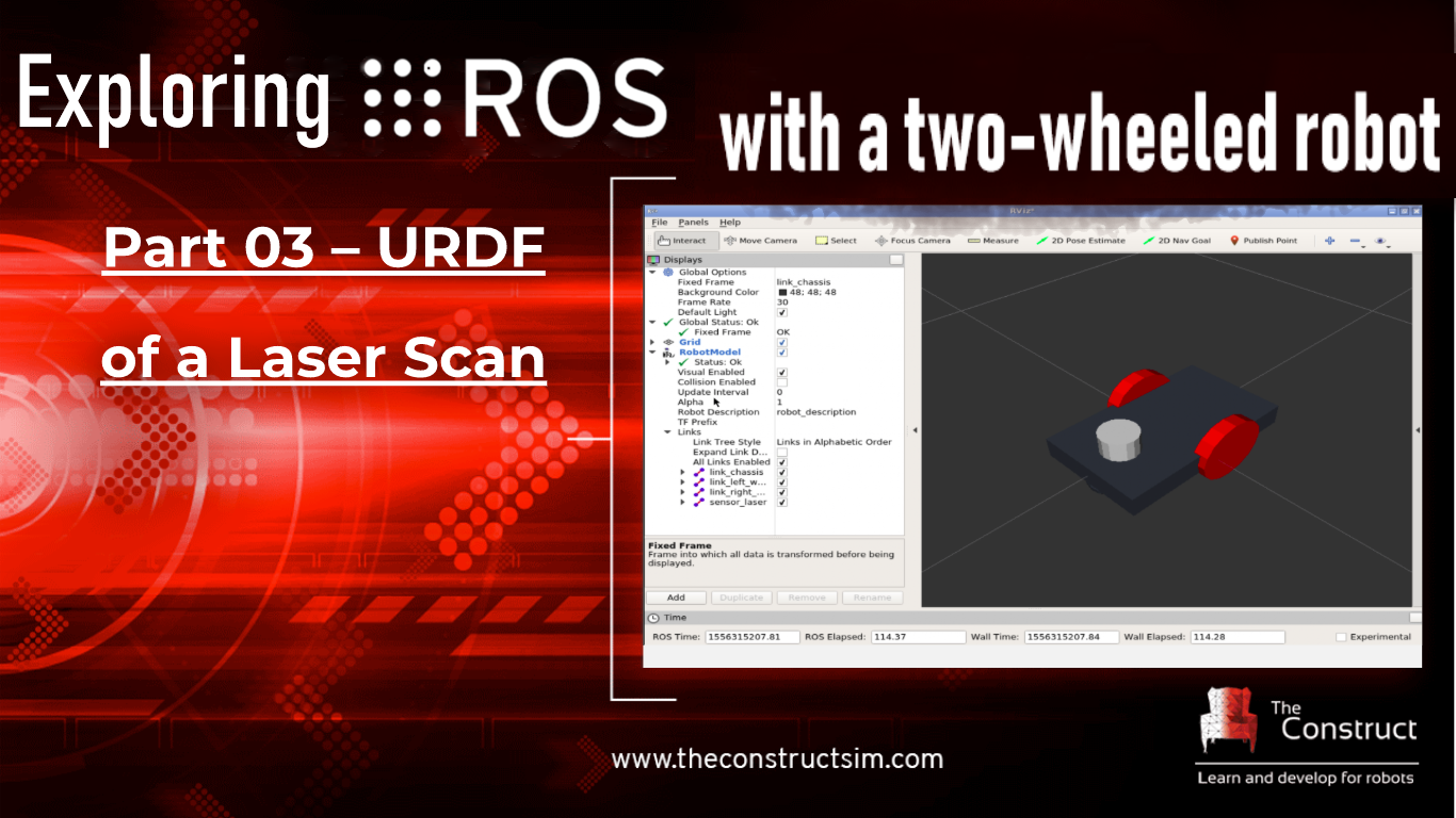 Exploring ROS with a 2 Wheeled Robot #3 : URDF of a Laser Scan