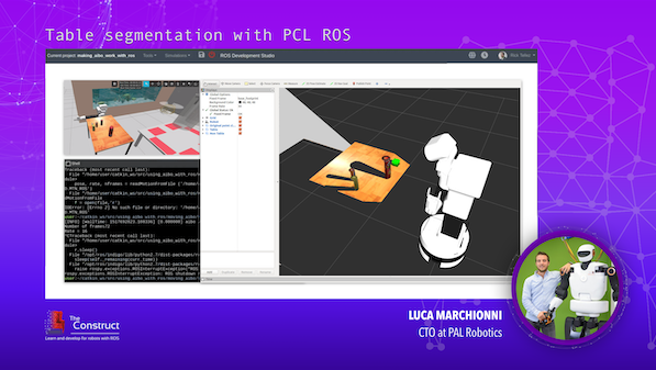 Table segmentation with PCL ROS ROS Developers Conference 2019 Speaker: Luca Marchionni | The Construct