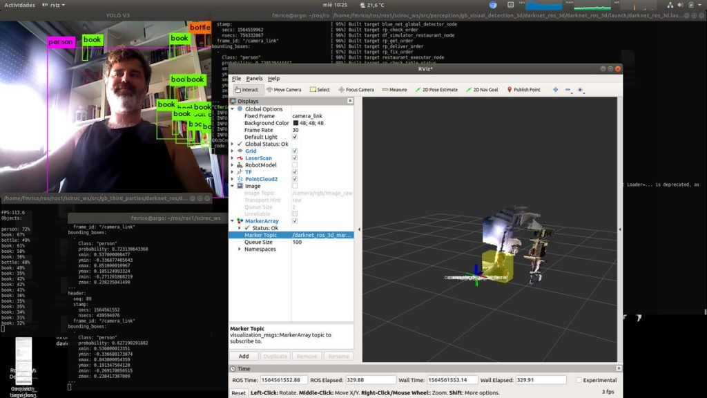 Francisco Martin shows how Darknet ROS 3D works to detect object locations