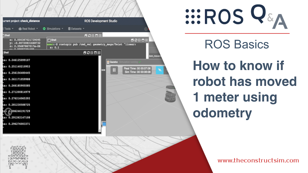 How to know if robot has moved 1 meter using odometry
