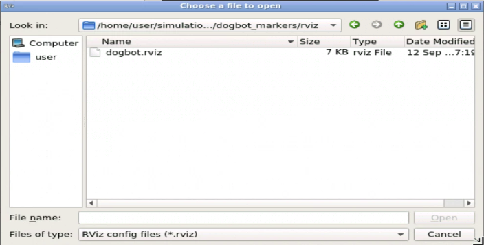 Select the rviz config file for dogbot