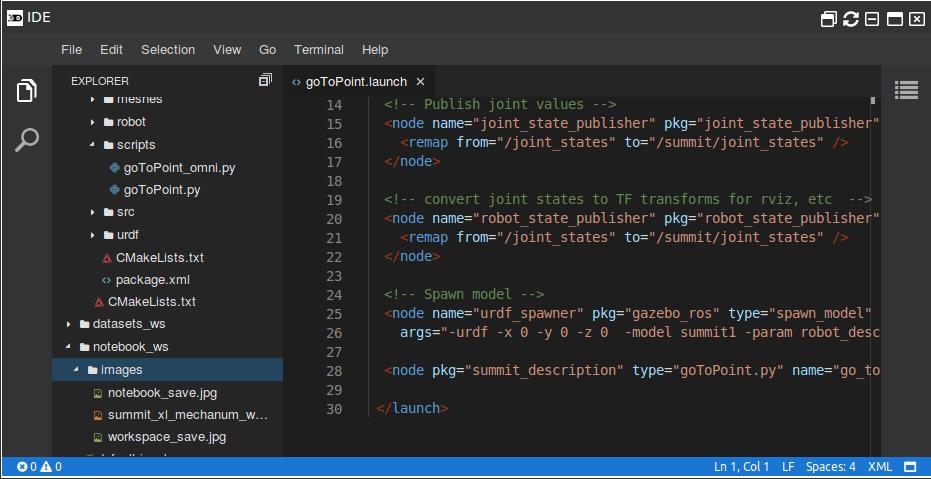 Code Editor (IDE) - ROSDS