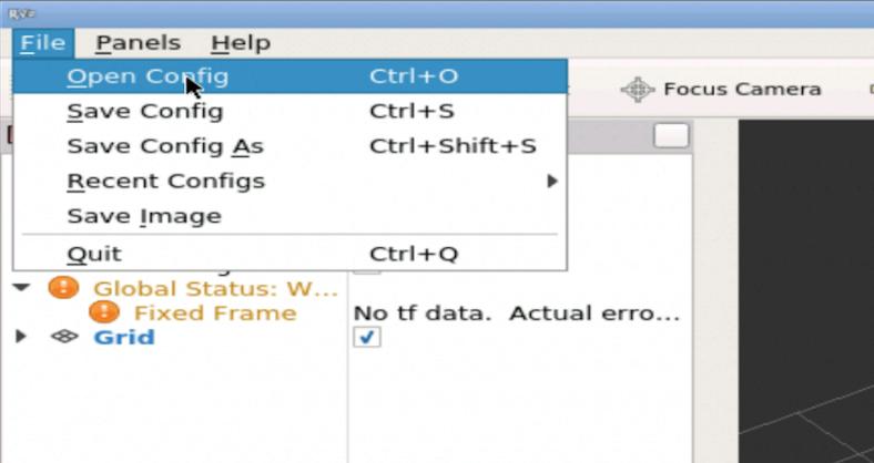 File -> Open Config button in RViz