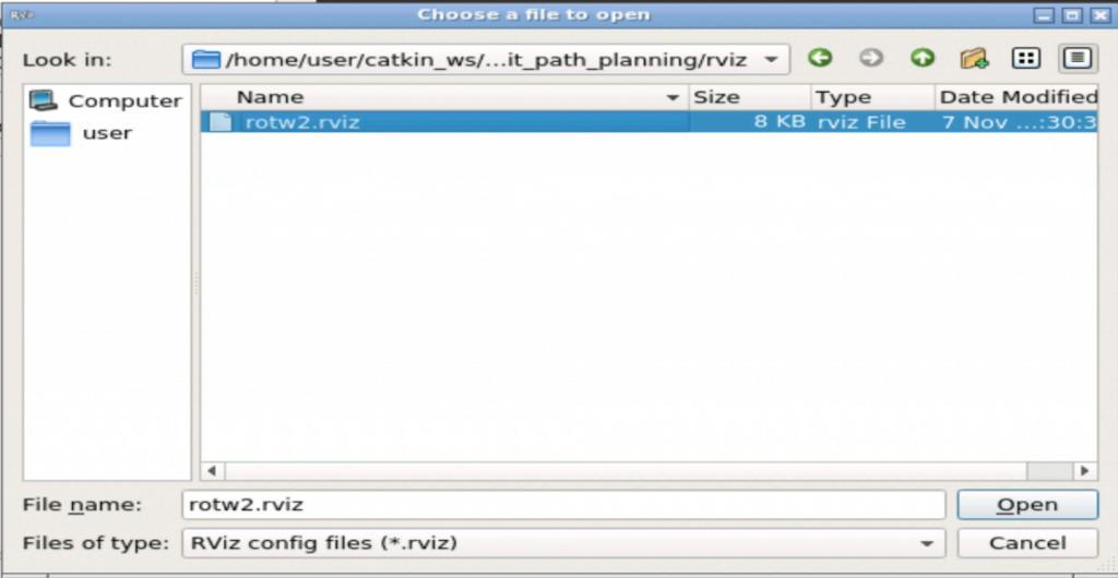 Opening rotw2.rviz config file in RViz