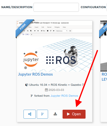 Open ROSject - Juypter ROS Demo on ROSDS
