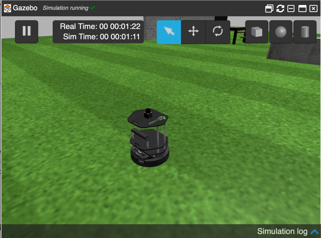 Turtlebot opened in a green area in ROSDS