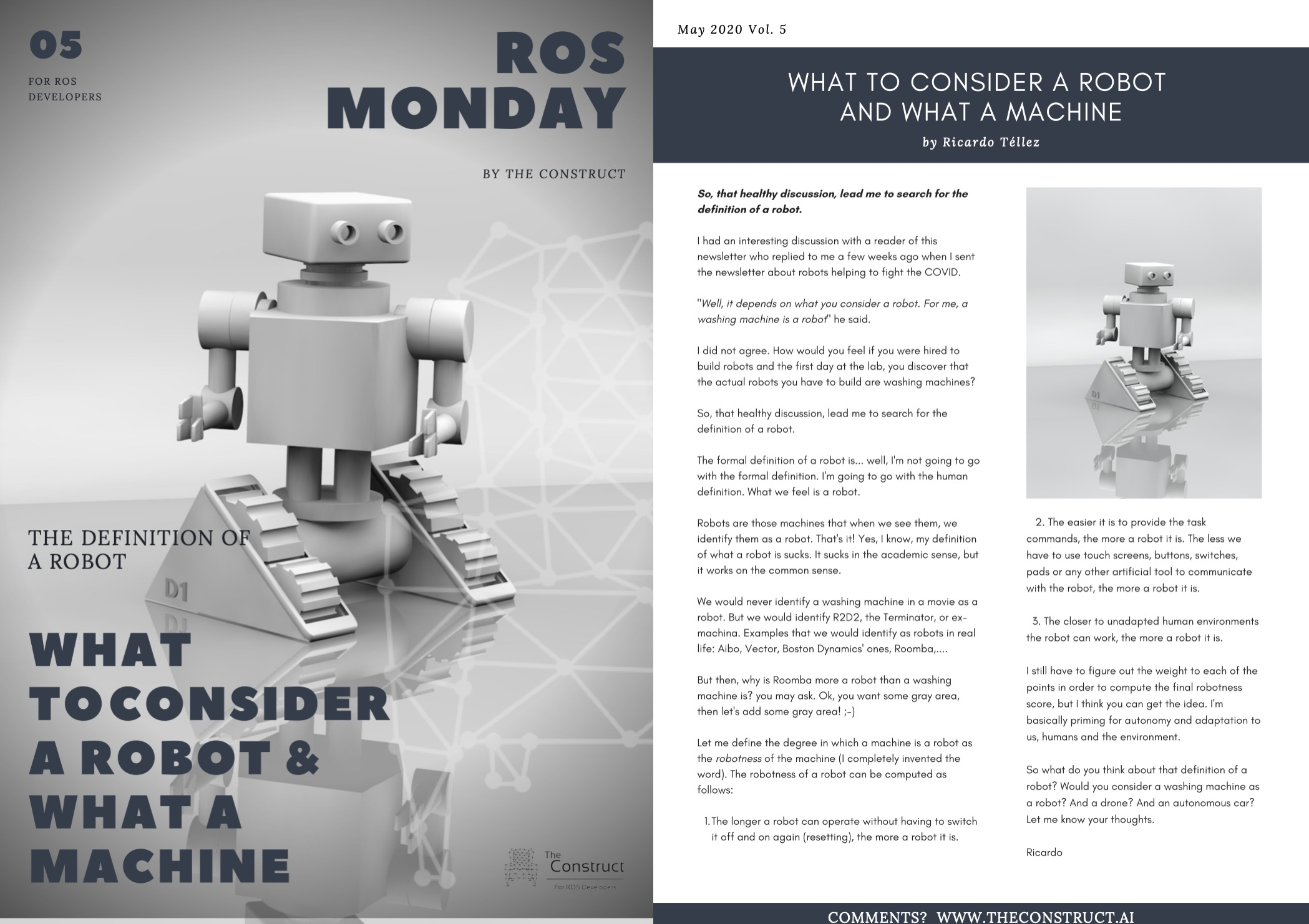 ROS Monday Vol.5 – What to consider a robot and what a machine